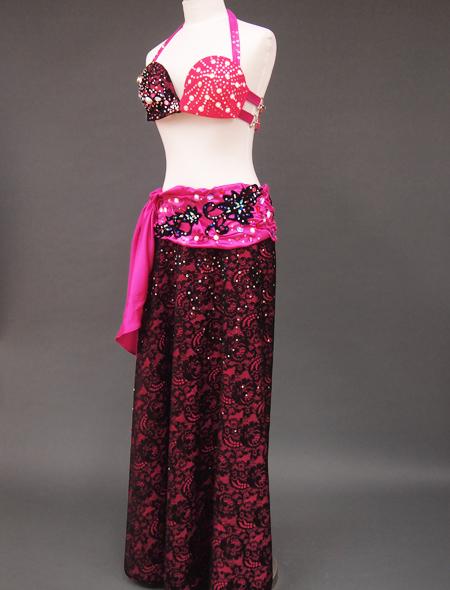 ピンク黒衣装4 ミラーナベリーダンス衣装