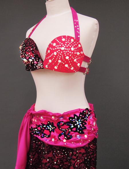 ピンク黒衣装5 ミラーナベリーダンス衣装