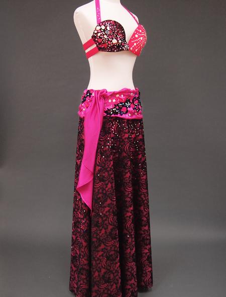 ピンク黒衣装6 ミラーナベリーダンス衣装