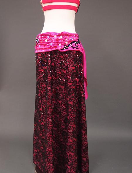ピンク黒衣装8 ミラーナベリーダンス衣装