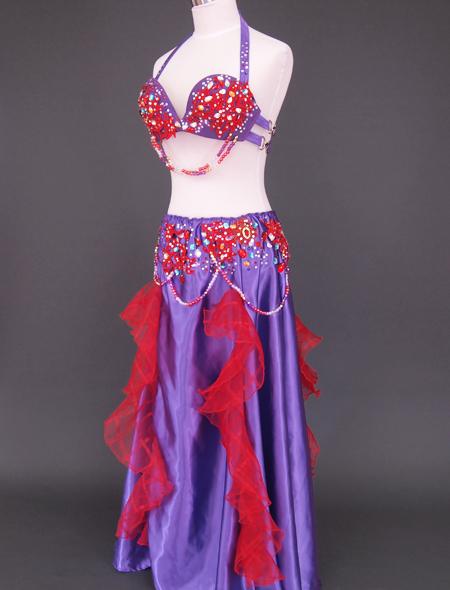 紫赤フリルベリーダンス衣装4 ミラーナ