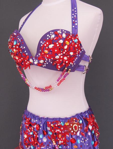 紫赤フリルベリーダンス衣装5 ミラーナ
