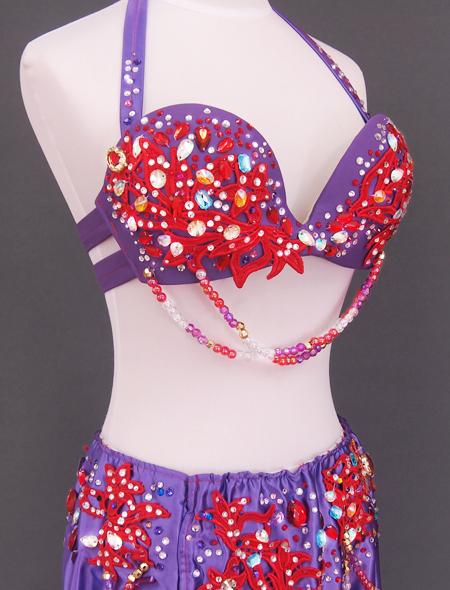 紫赤フリルベリーダンス衣装7 ミラーナ