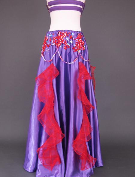 紫赤フリルベリーダンス衣装8 ミラーナ