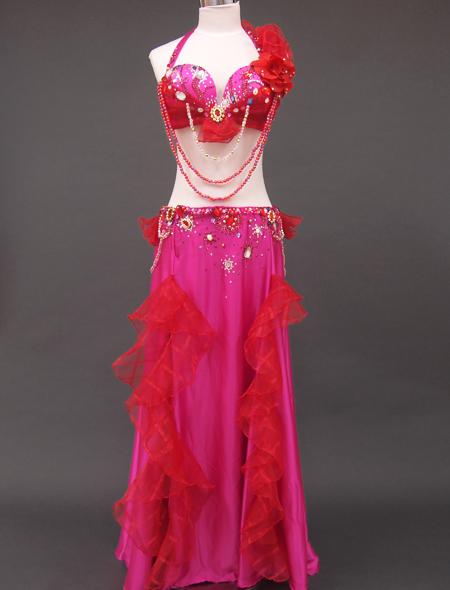 ピンク赤コサージュ衣装1 ミラーナベリーダンス