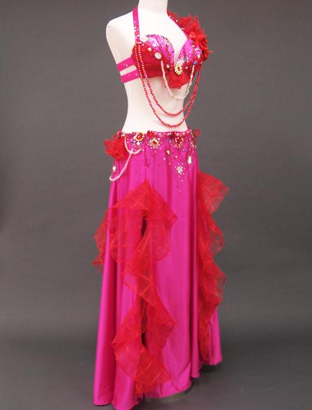 ピンク赤コサージュ衣装5 ミラーナベリーダンス