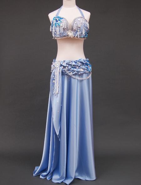 光沢ブルー衣装1 ミラーナベリーダンス