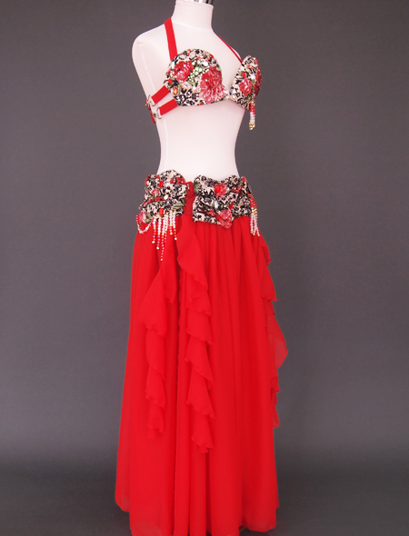 赤ばら衣装6 ミラーナベリーダンス衣装