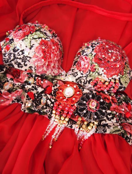 赤ばら衣装9 ミラーナベリーダンス衣装