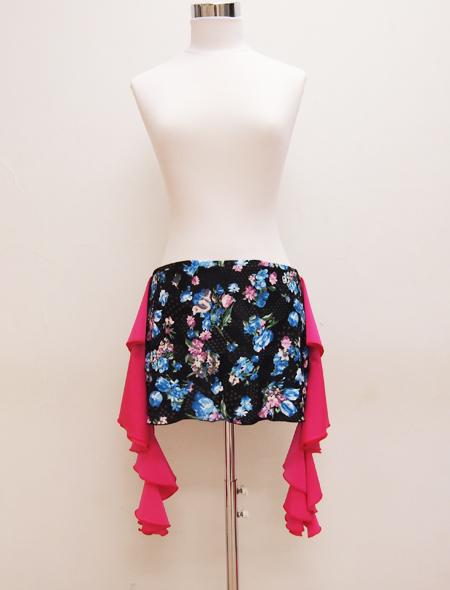 黒の青花プリントヒップスカーフ ミラーナベリーダンス衣装