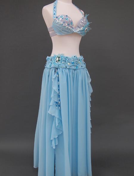 ブルー花のベリーダンス衣装7 ミラーナ