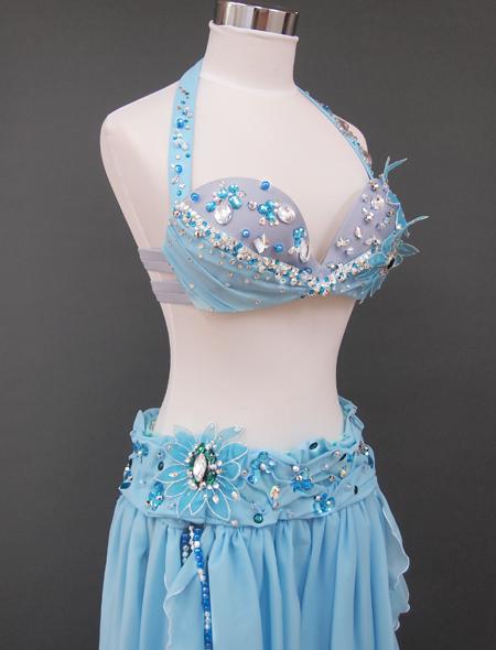 ブルー花のベリーダンス衣装6 ミラーナ
