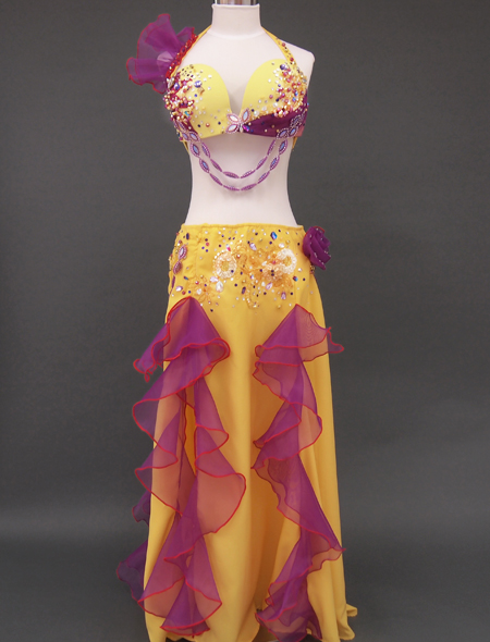 黄色パープルフリルのベリーダンス衣装1 ミラーナ
