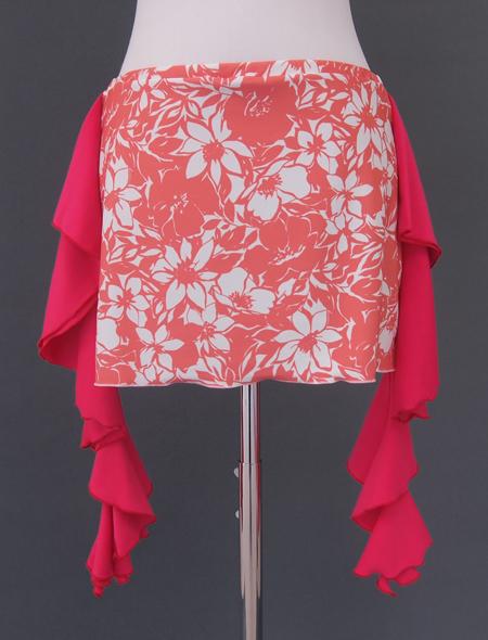 ピンクフリルサーモンピンクヒップスカーフ2 ミラーナベリーダンス衣装