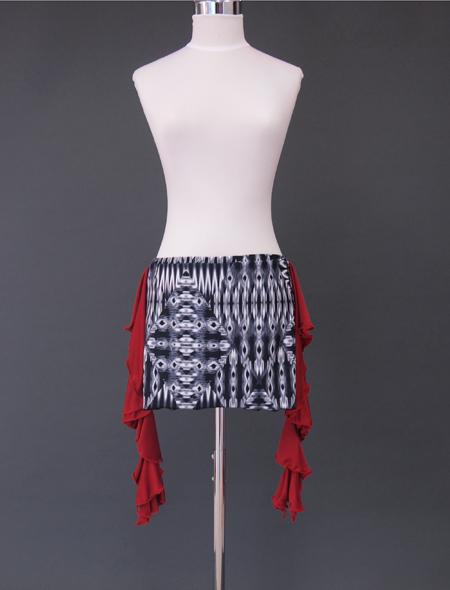 赤フリル黒グレーヒップスカーフ1 ミラーナベリーダンス衣装