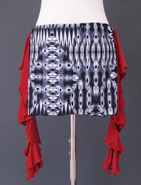 赤フリル黒グレーヒップスカーフ2 ミラーナベリーダンス衣装