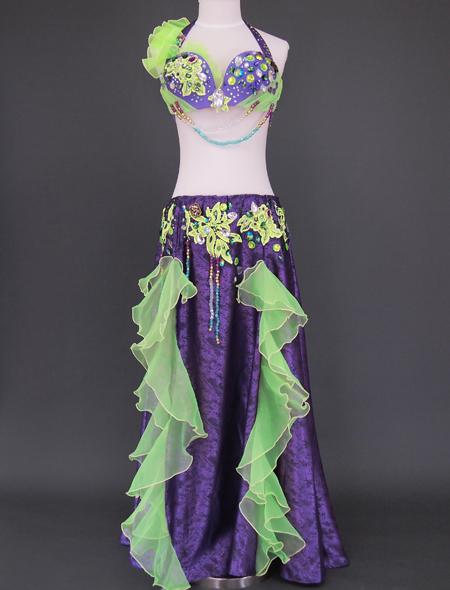 パープルグリーンベリーダンス衣装