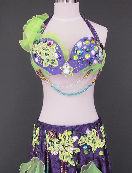 パープルグリーンベリーダンス衣装2  ミラーナ