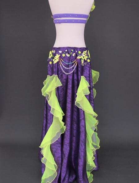 パープルグリーンベリーダンス衣装6 ミラーナ