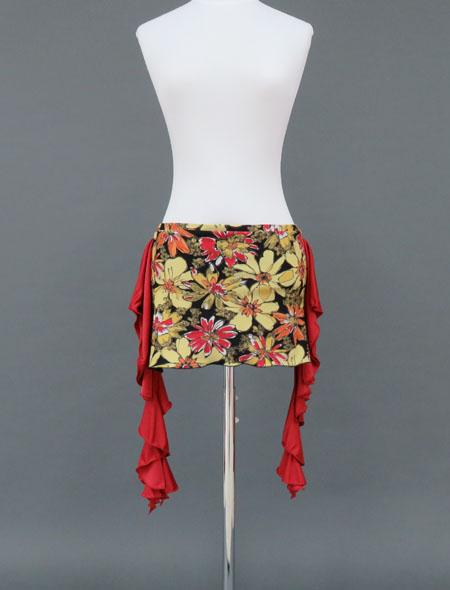赤黄フラワーヒップスカーフ