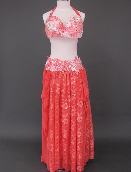 オレンジピンクベリーダンス衣装1 ミラーナ