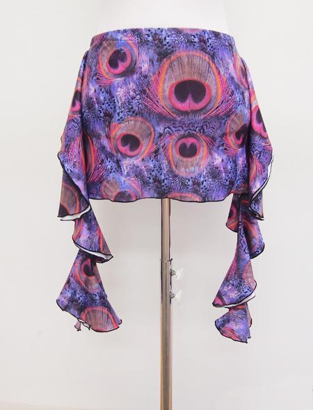 パープルクジャク柄ヒップスカーフ2 MiLLANAベリーダンス衣装