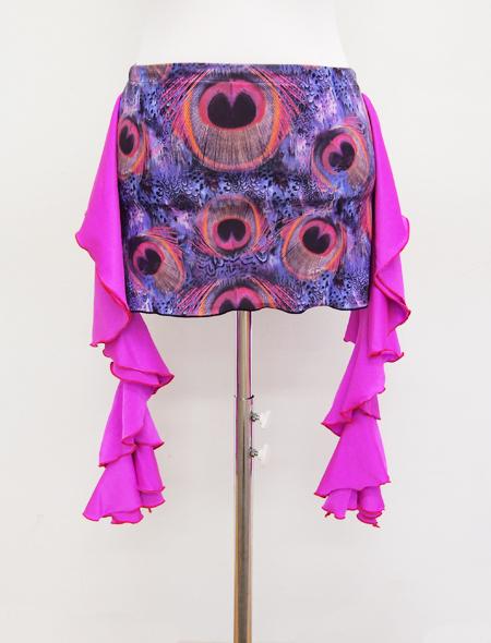 パープルフリルクジャク柄ヒップスカーフ2 MiLLANAベリーダンス衣装