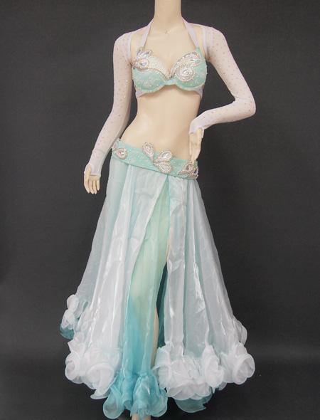 ホワイトグリーン1 ミラーナベリーダンス衣装