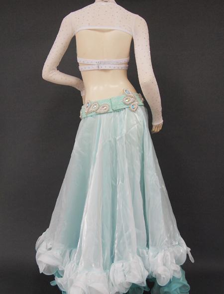 ホワイトグリーン5 ミラーナベリーダンス衣装