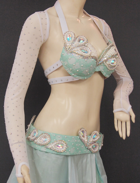 ホワイトグリーン6 ミラーナベリーダンス衣装