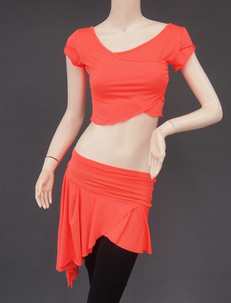 オレンジ上下セット2 ミラーナベリーダンス衣装