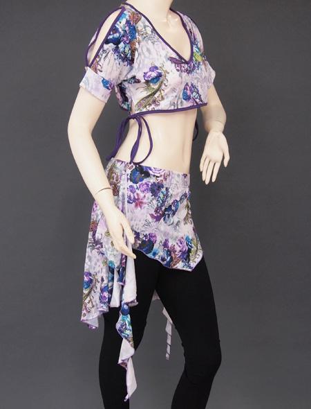 紫花柄レッスンウエア4 ミラーナベリーダンス衣装