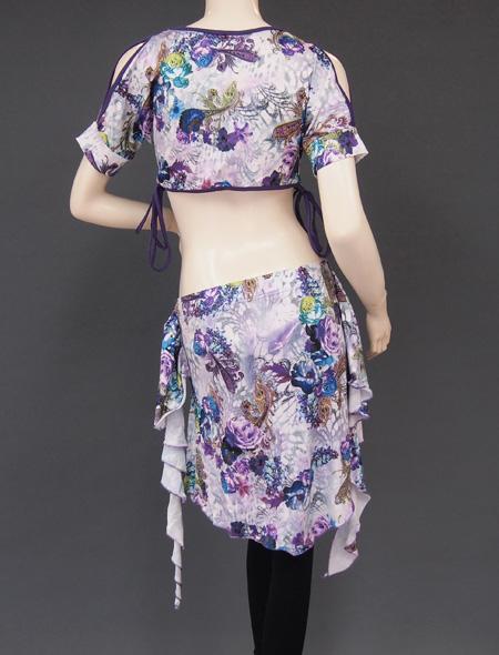 紫花柄レッスンウエア5 ミラーナベリーダンス衣装