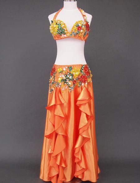 オレンジゴールド花モチーフ ベリーダンス衣装1 ミラーナ