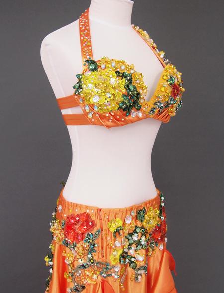 オレンジゴールド花モチーフ ベリーダンス衣装4 ミラーナ