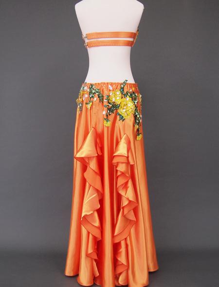 オレンジゴールド花モチーフ ベリーダンス衣装5 ミラーナ