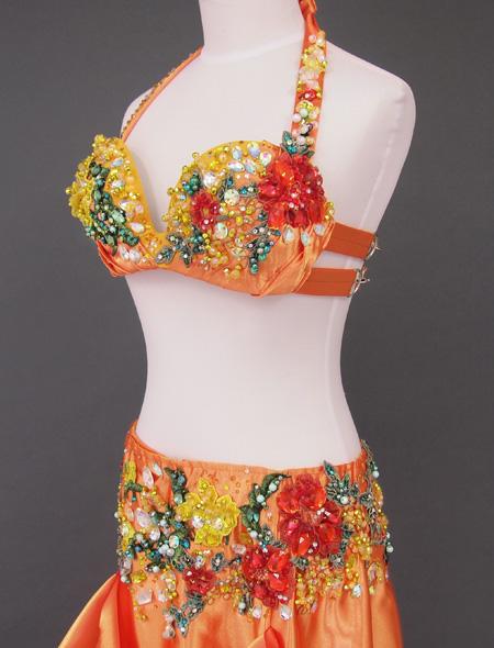 オレンジゴールド花モチーフ ベリーダンス衣装2 ミラーナ