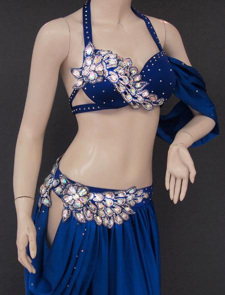 深みのあるブルー衣装4 ミラーナベリーダンス衣装