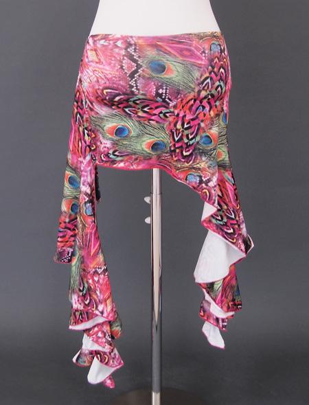 ピンク孔雀ウエアセット3 ミラーナベリーダンス衣装