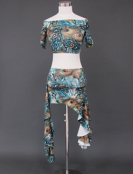 グリーン孔雀ウエアセット1 ミラーナベリーダンス衣装