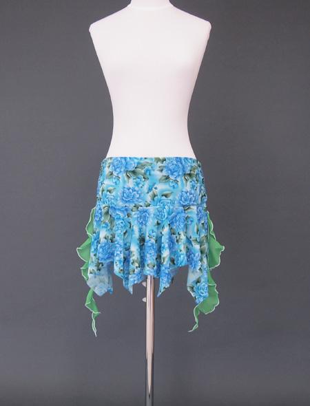 水色薔薇ヒップスカーフ3 ミラーナベリーダンス衣装