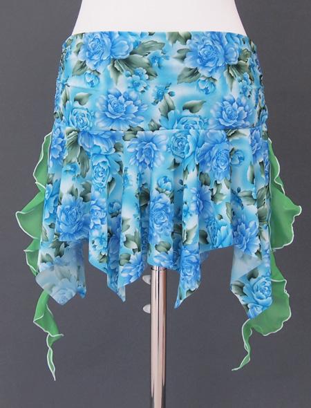 水色薔薇ヒップスカーフ4 ミラーナベリーダンス衣装