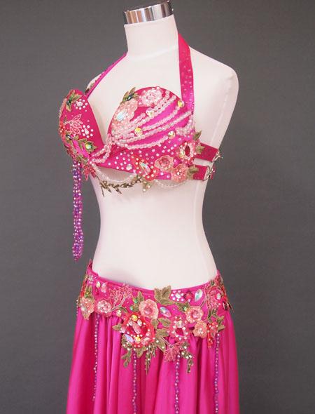 ピンク花ベリーダンス衣装4 MiLLANA
