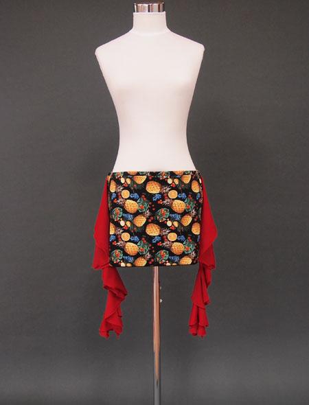 パイナップル赤フリルヒップスカーフ1 ミラーナ