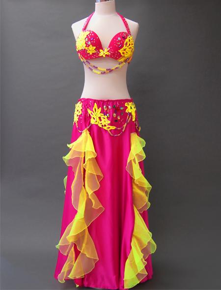 ピンクイエローコスチューム1 ミラーナベリーダンス衣装