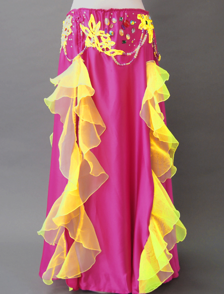 ピンクイエローコスチューム3 ミラーナベリーダンス衣装