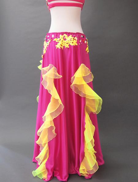 ピンクイエローコスチューム5 ミラーナベリーダンス衣装