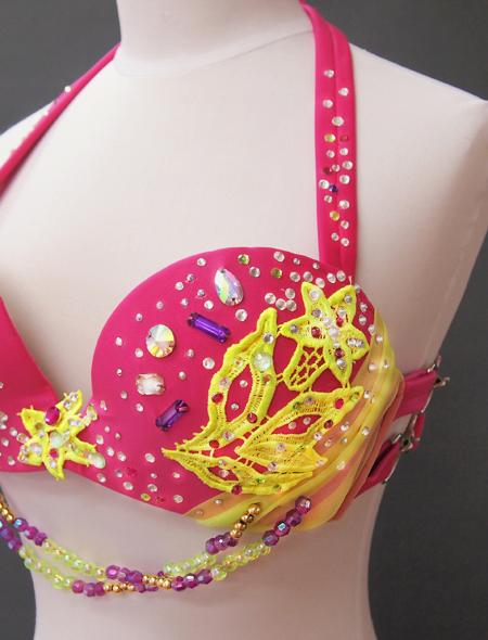 ピンクイエローコスチューム6 ミラーナベリーダンス衣装