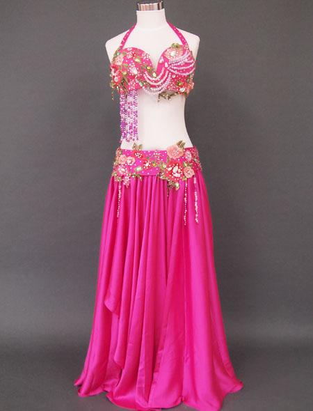 ピンクグリーンベリーダンス衣装 ミラーナ