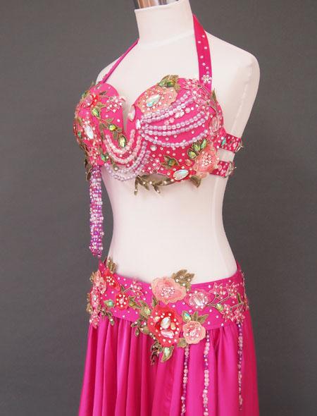 ピンクグリーンベリーダンス衣装4 ミラーナ